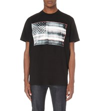Givenchy American Flag Print Cotton Jersey T Shirt Black