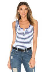 Frame Denim Le Nautical Henley Tank Blue