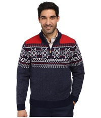 Vineyard Vines Fairfield Snowflake Fairisle Nautical Navy Men's Long Sleeve Pullover