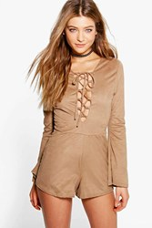 Boohoo Lace Up Front Wide Sleeve Suedette Playsuit Tan