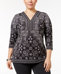 Jm Collection Plus Size Embellished V Neck Top Only At Macy's Vintage Jewel