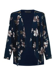 Mela Loves London Midnight Floral Print Waterfall Jacket Navy