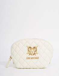 Love Moschino Quilted Cosmetic Case Cream