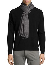 John Varvatos Plaid Wool Scarf Black