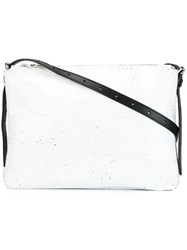 Maison Martin Margiela Mm6 Cracked Leather Effect Crossbody Bag White