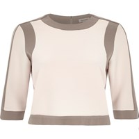 River Island Womens Grey Border Fitted Boxy Crop Top