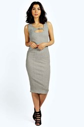 Boohoo Over Dye Knot Front Midi Dress Grey