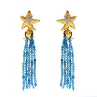 Misis Positano Earrings With Blue Brazilian Agate And Starfish