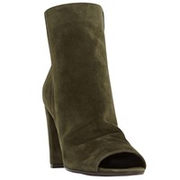 Dune Odelle Peep Toe High Heel Ankle Boots Khaki Suede