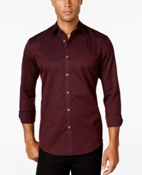 Alfani Men's Big And Tall Classic Fit Long Sleeve Box Print Shirt Only At Macy's Red Velvet