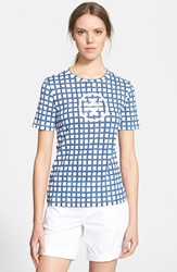 Tory Burch Cotton Jersey Tee Canvas Plaid Logo