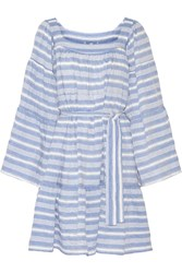Lisa Marie Fernandez Striped Cotton Blend Gauze Mini Dress Light Blue