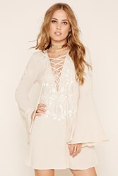 Forever 21 Lace Up Bell Sleeve Dress