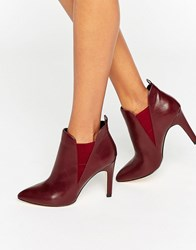 London Rebel Point Heeled Ankle Boots Burgundy Pu Red