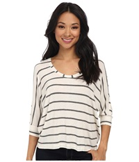 Splendid Striped Drapey Dolman Bone Women's Clothing