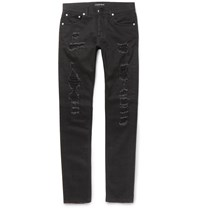 Alexander Mcqueen Skinny Fit Distressed Washed Stretch Denim Jeans Black