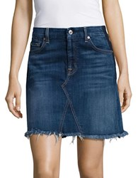 7 For All Mankind Dark Wash Fringed Denim Skirt Shadow Blue