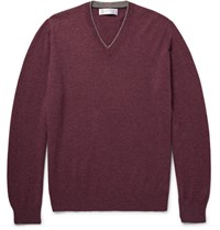 Brunello Cucinelli Contrast Tipped Cashmere Sweater Burgundy