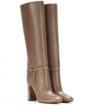 Tory Burch Faye Leather Knee High Boots Beige