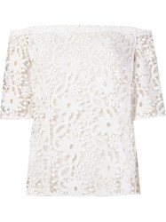 Martha Medeiros Off The Shoulder Guipure Lace Blouse White