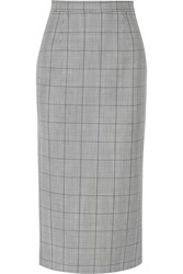 Miu Miu Glen Plaid Wool And Mohair Blend Pencil Skirt Midnight Blue Gray