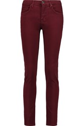 Victoria Beckham Power Skinny Mid Rise Jeans Red