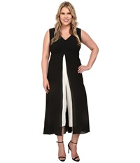 Adrianna Papell Plus Size Color Blocked Overlay Jumpsuit Black Ivory Women's Jumpsuit And Rompers One Piece