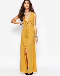 Wyldr Bow Front Maxi Dress Yellow