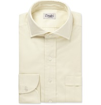 Drakes White Brushed Cotton Shirt Neutrals