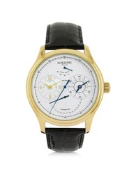 Forzieri Portofino Gold Tone Stainless Steel Case And Black Embossed Leather Men's Automatic Watch
