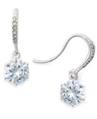 Charter Club Silver Tone Crystal Drop Earrings