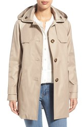 Women's London Fog Hooded Single Breasted A Line Coat Stone