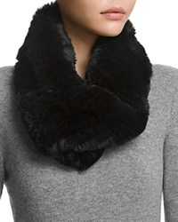 Surell Twisted Rabbit Fur Loop Scarf Black