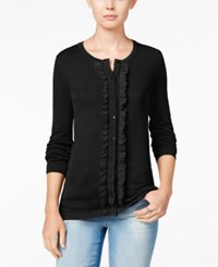 Tommy Hilfiger Kelly Ruffled Cardigan Only At Macy's Black