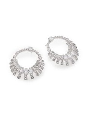Adriana Orsini Decadence Crystal Drop Hoop Earrings Silver