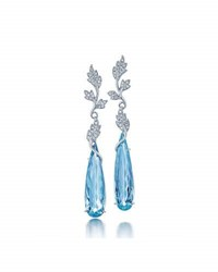Frederic Sage Aquamarine And Diamond Drop Earrings In 18K White Gold