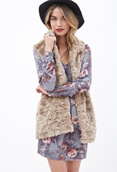 Forever 21 Textured Faux Fur Vest Taupe