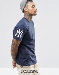 Majestic Yankees T Shirt With Sleeve Logo Exclusive To Asos Navy