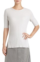 Women's Lafayette 148 New York Elbow Sleeve Ribbed Cashmere Sweater
