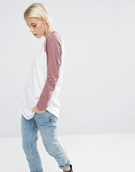 Asos Longline T Shirt With Contrast Sleeve White Mauve