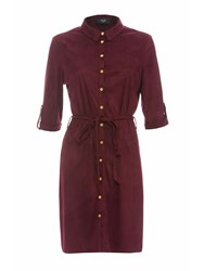 Ax Paris Long Sleeved Faux Suede Shirt Dress Plum
