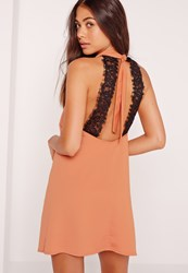 Missguided Silky Lace Back Swing Dress Nude Brown
