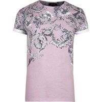 River Island Mens Pink Faded Floral Print T Shirt