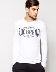 Esprit Long Sleeve Top With Brand Print White