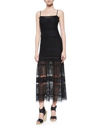French Connection Fancy Plaid Pattern Tea Length Dress Black