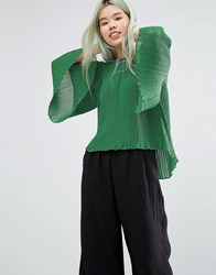 Weekday Carma Plisse Shirt Green