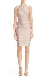 Herve Leger Women's 'Stella' Crisscross Front Woodgrain Metallic Foil Bandage Dress