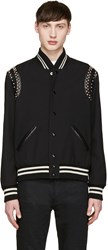 Saint Laurent Black Studded Teddy Bomber Jacket