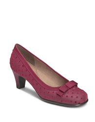 Aerosoles Playhouse Leather Pumps Wine Mini Polka Dot