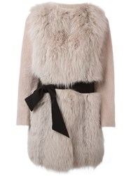 Blancha Belted Fur Coat Pink And Purple